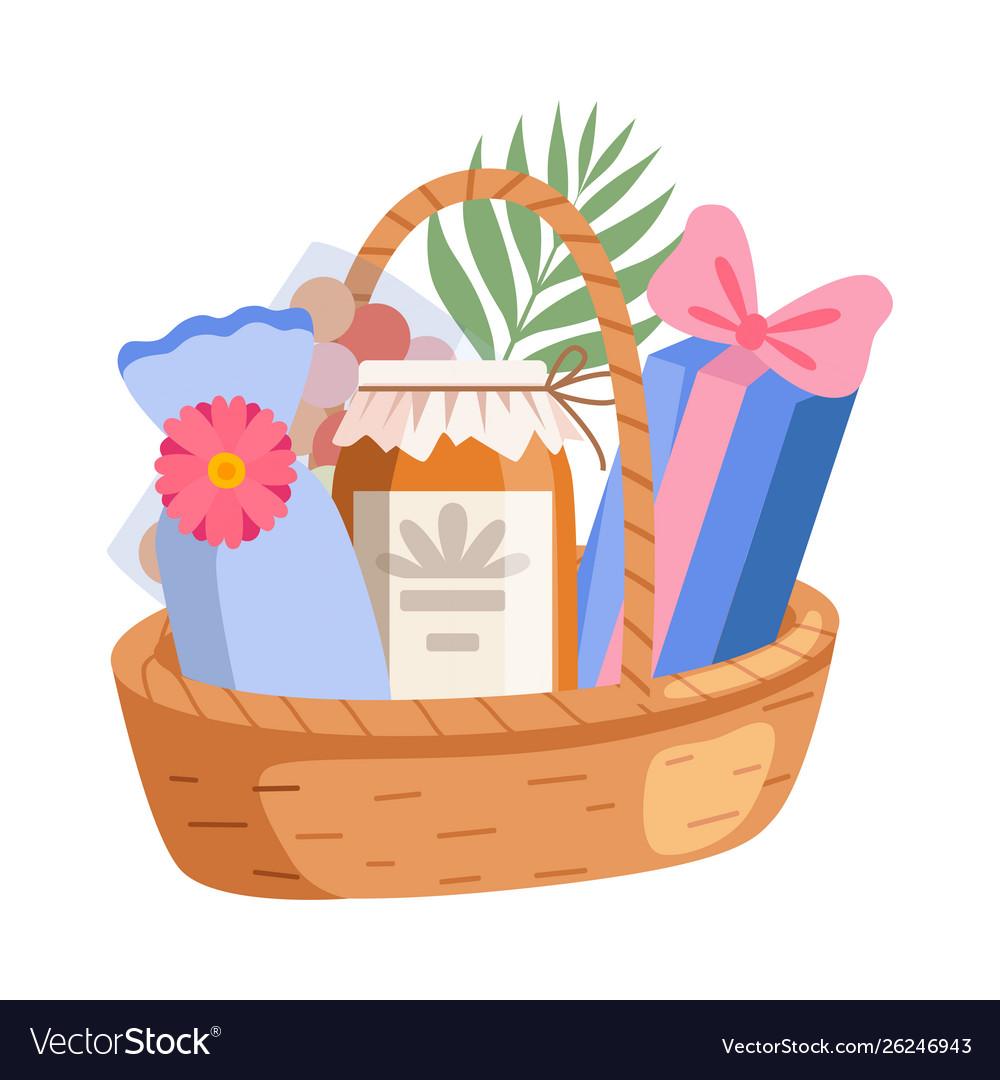 Holiday present basket full gifts birthday