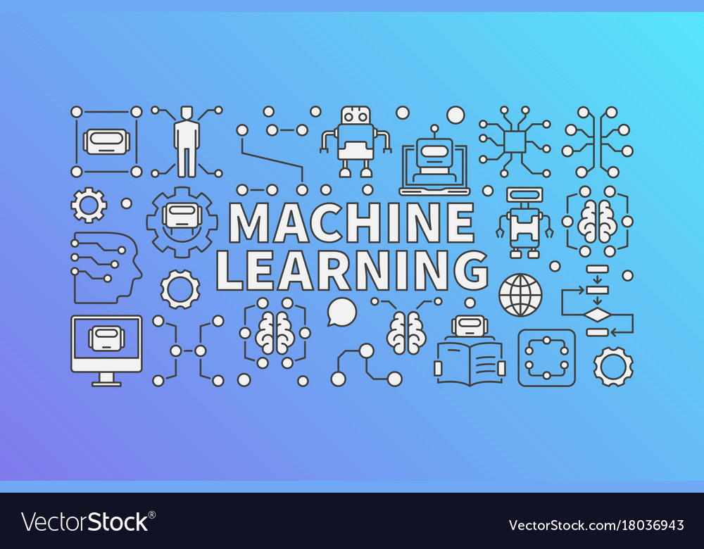 Machine Learning Banner Or Royalty Free Vector Image