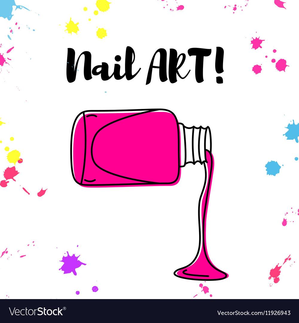 Nail Polish Spill Hand Drawn Poster Royalty Free Vector