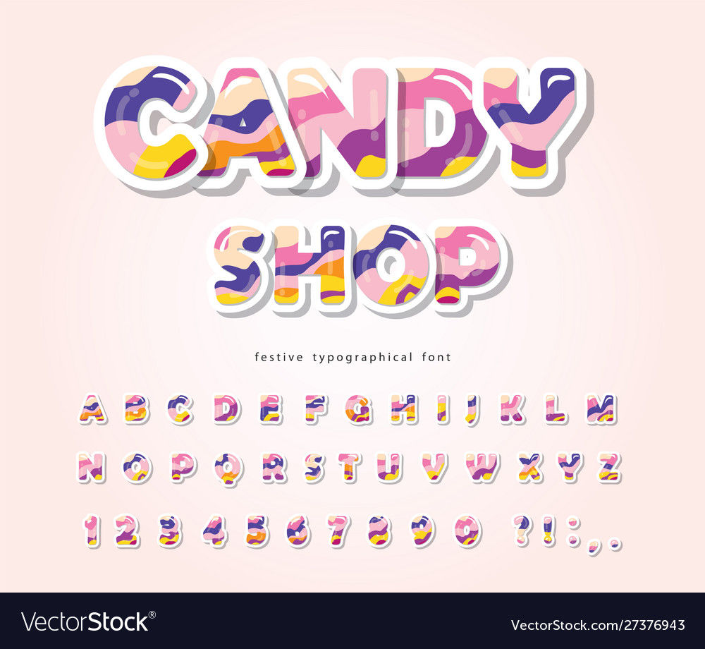 Paper cut out sweet font design candy abc letters