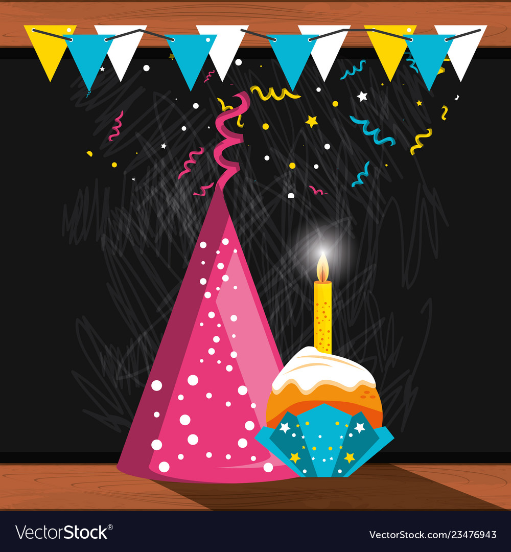 Party hat decorative and cupcake with candle