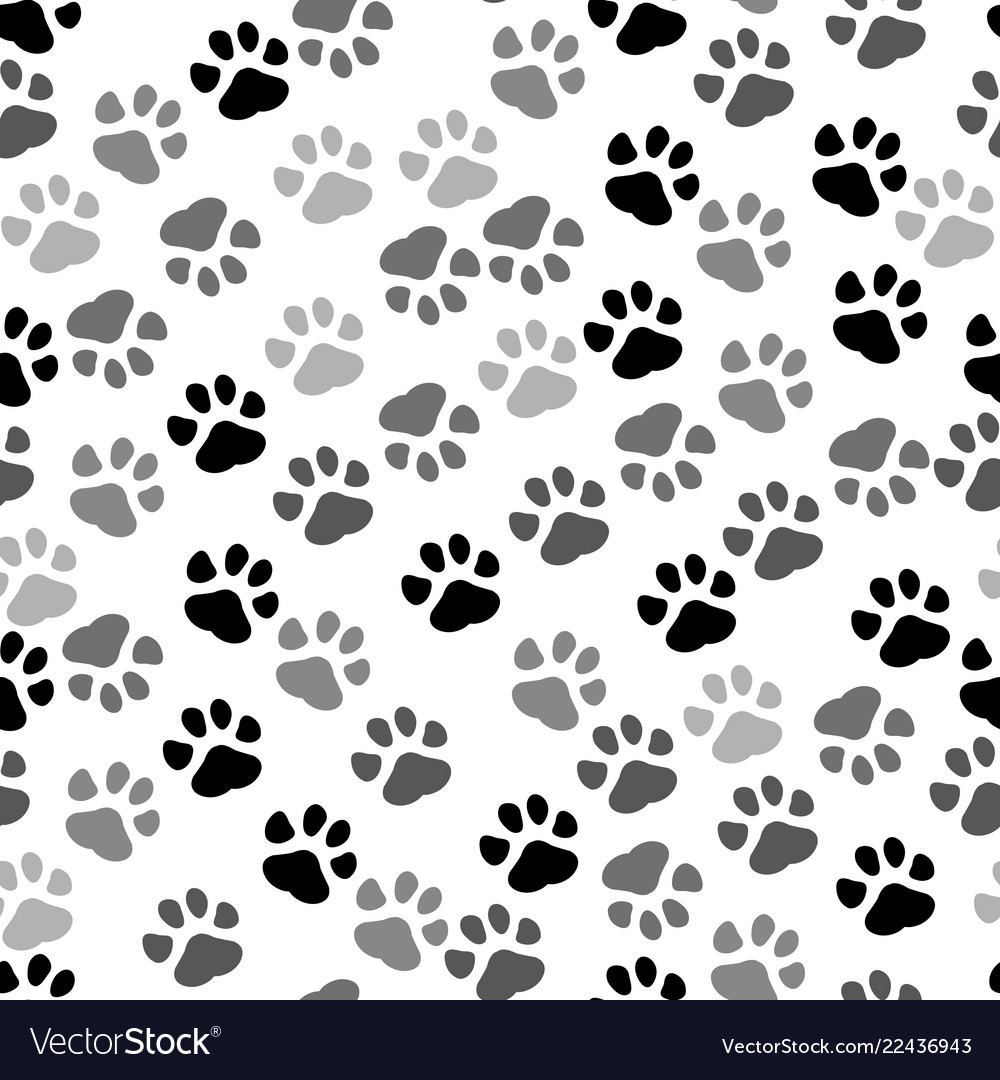 5003fd1c0a46 Seamless background - pet paw print and bone Vector Image