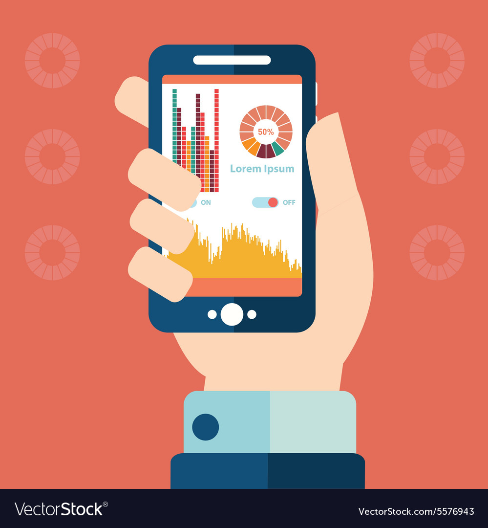 Smartphone infographics with a hand holding a vector image