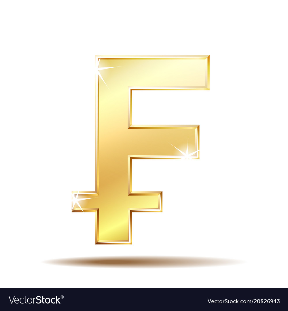 Swiss Franc Currency Shiny Gold Symbol Royalty Free Vector