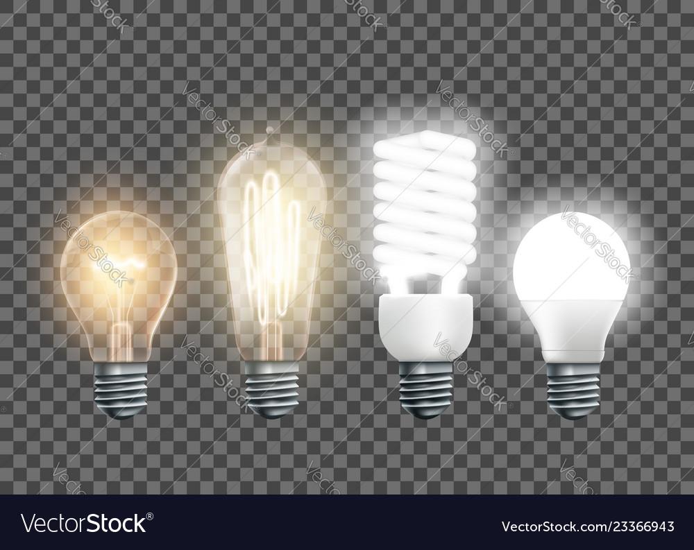 Tungsten edison fluorescent and led light bulbs