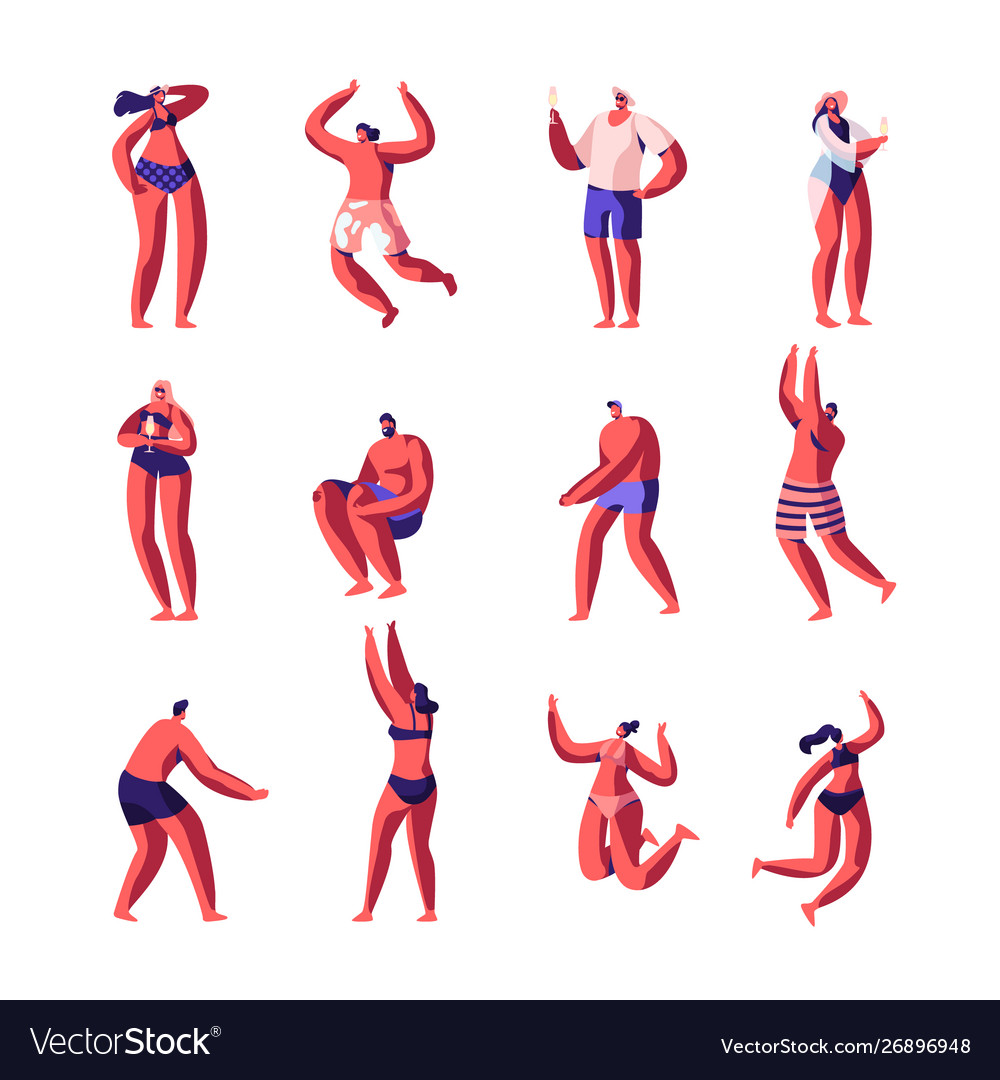 Beach party relaxing male female characters set