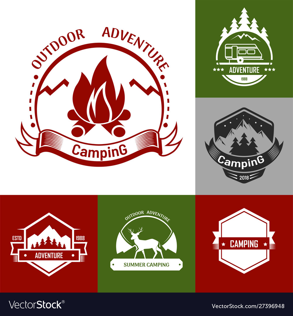 Camping outdoor adventure set logo and badge