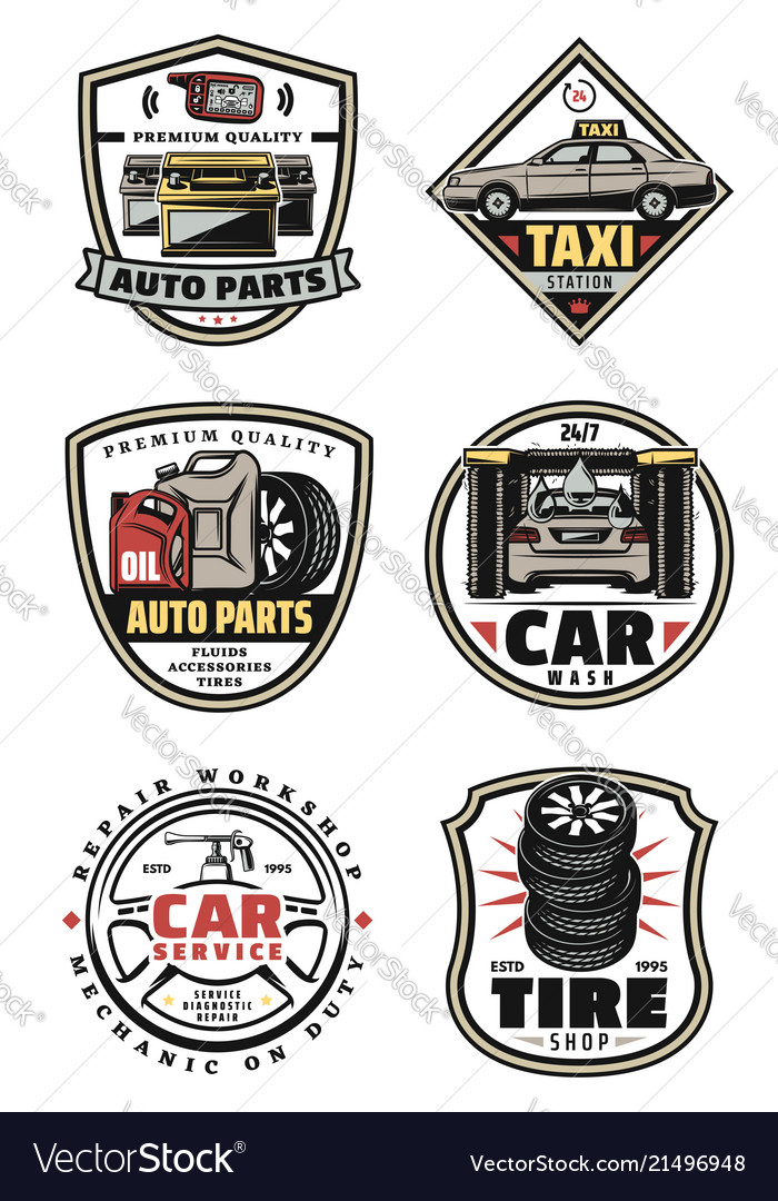 Car repair shop and service garage vintage badges