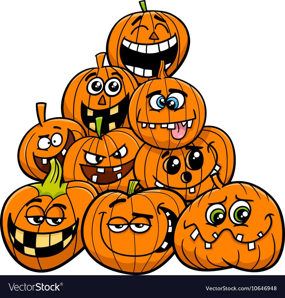 Cartoon Halloween Pumpkins Group Royalty Free Vector Image