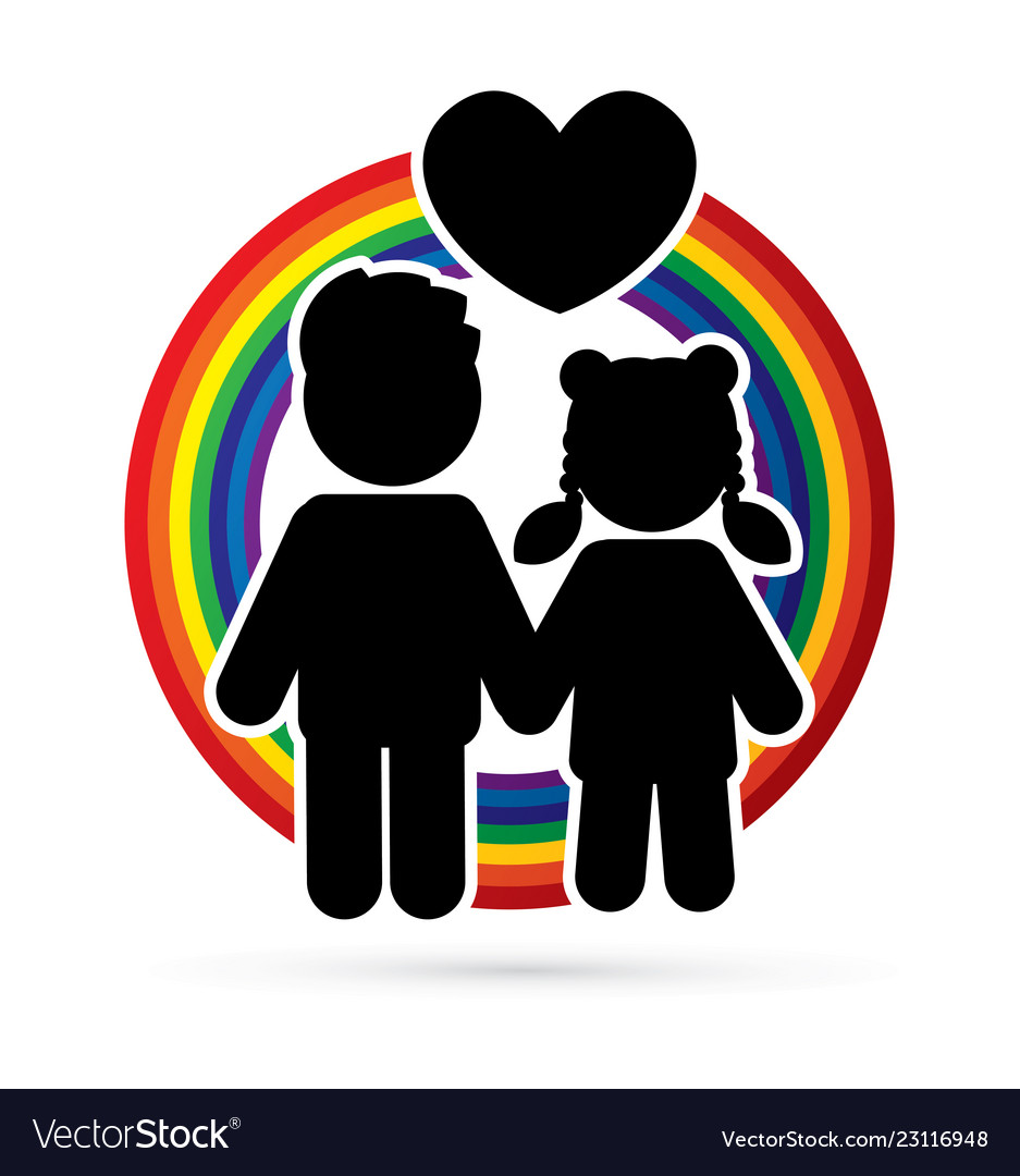 Children icon couple icon with heart love