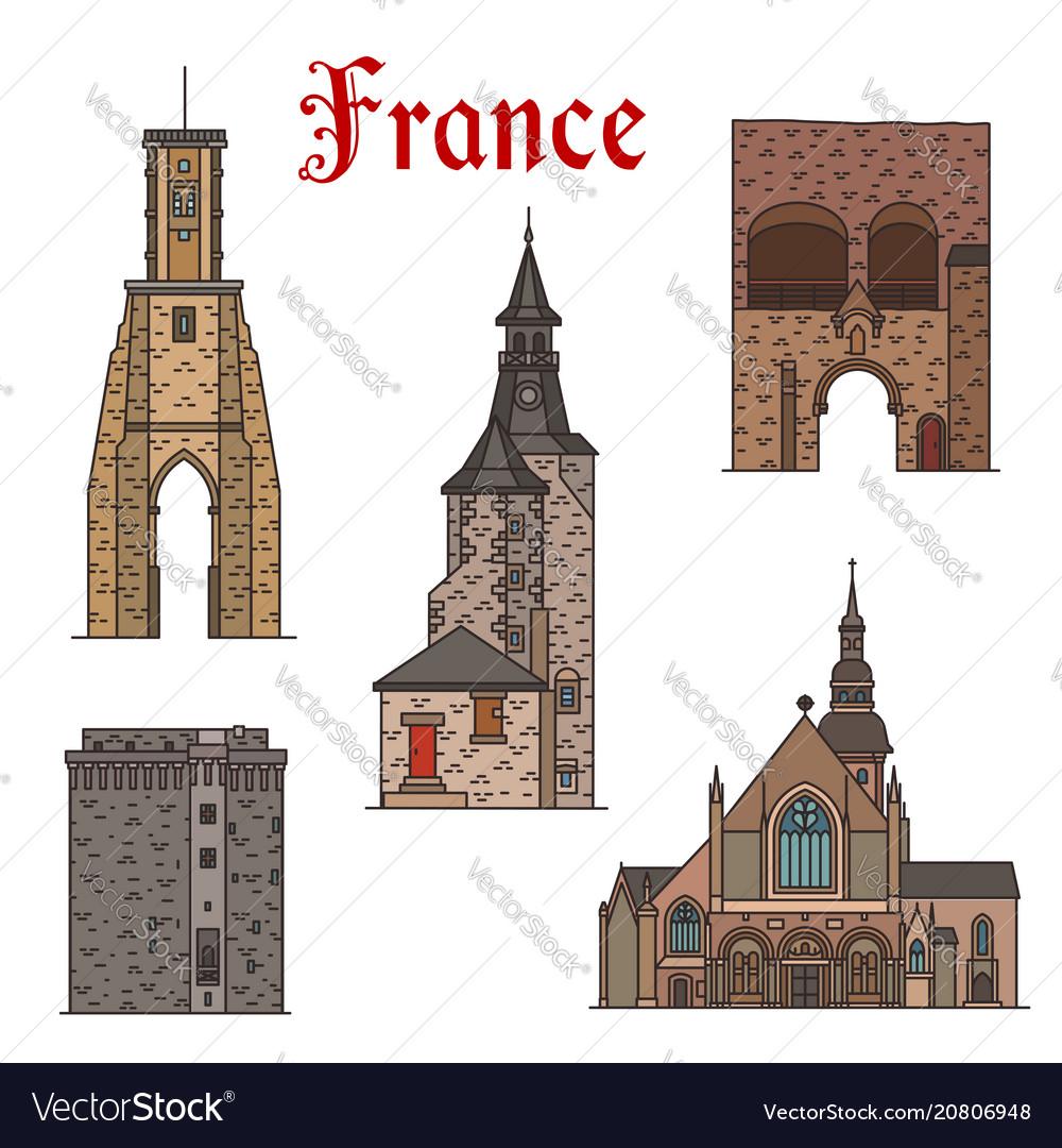 France landmarks architecture line icons