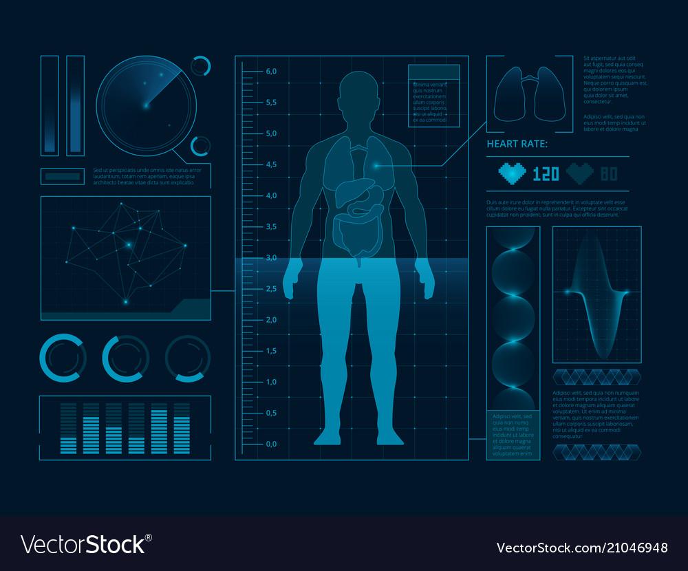 Futuristic medical symbols of scan for web