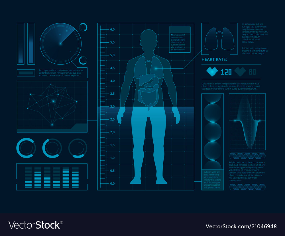 Futuristic medical symbols scan for web