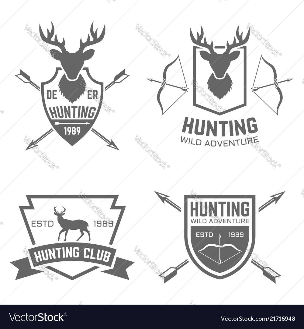 Hunting club black labels badges emblems