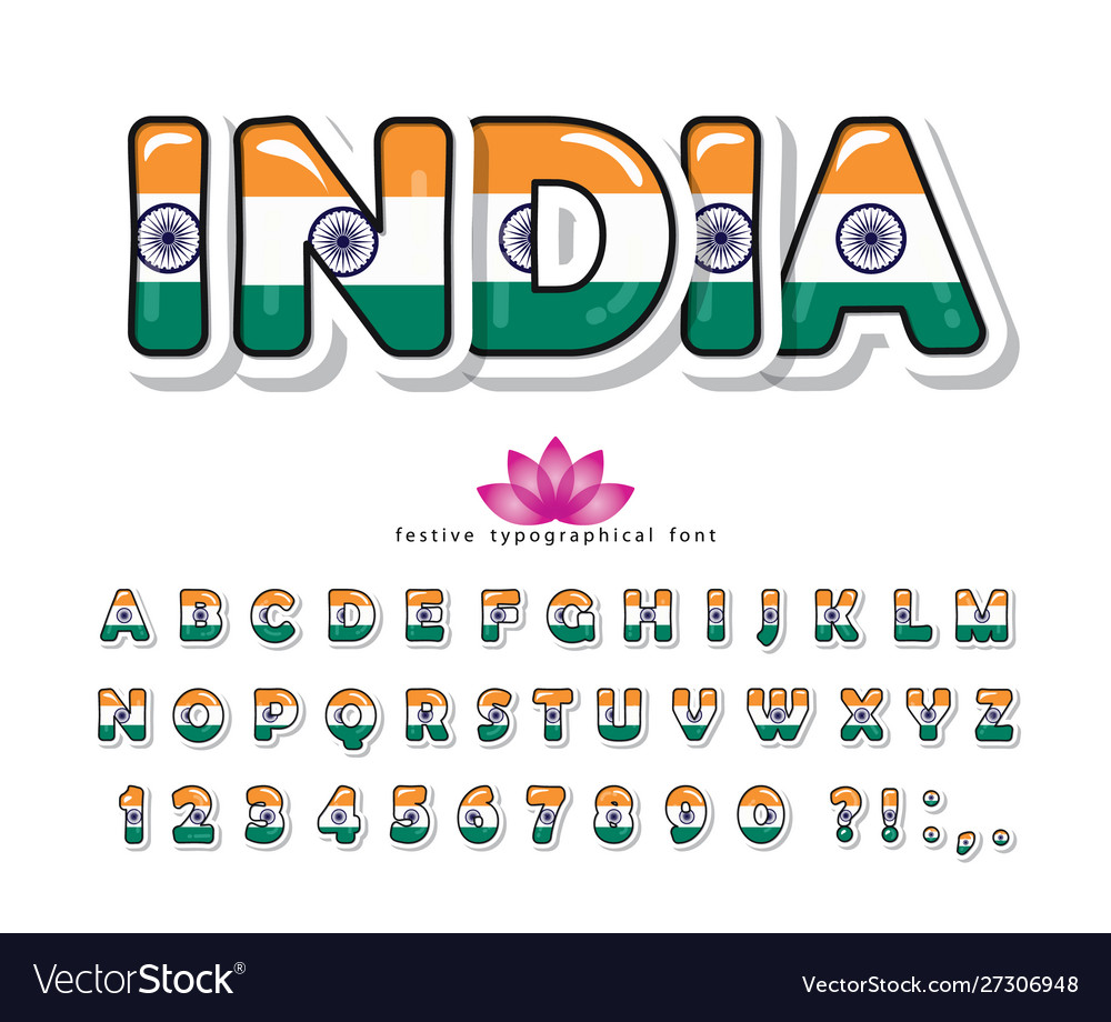 India cartoon font indian national flag colors