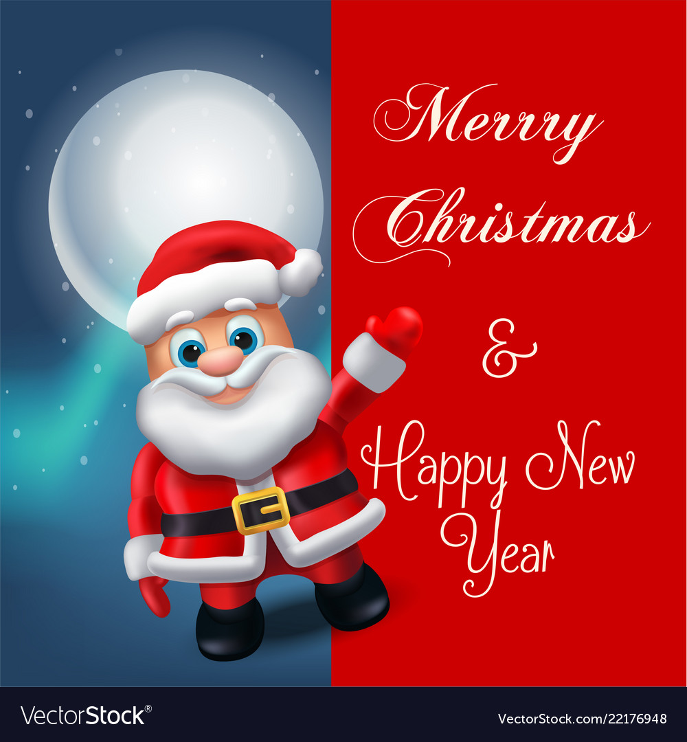 Santa claus lettering design holiday greeting vector image m4hsunfo