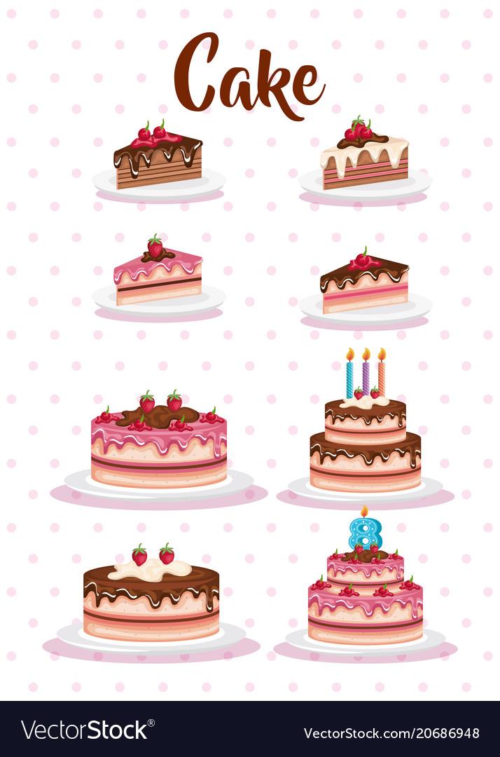 Set cake portions icons