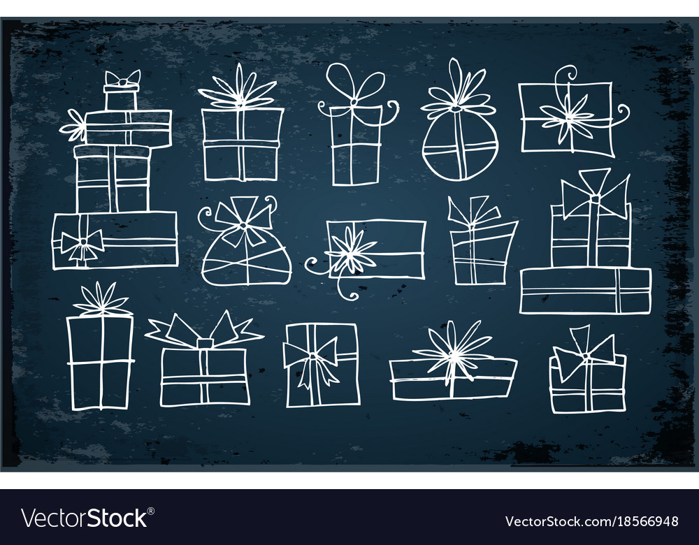 White doodle christmas gift boxes