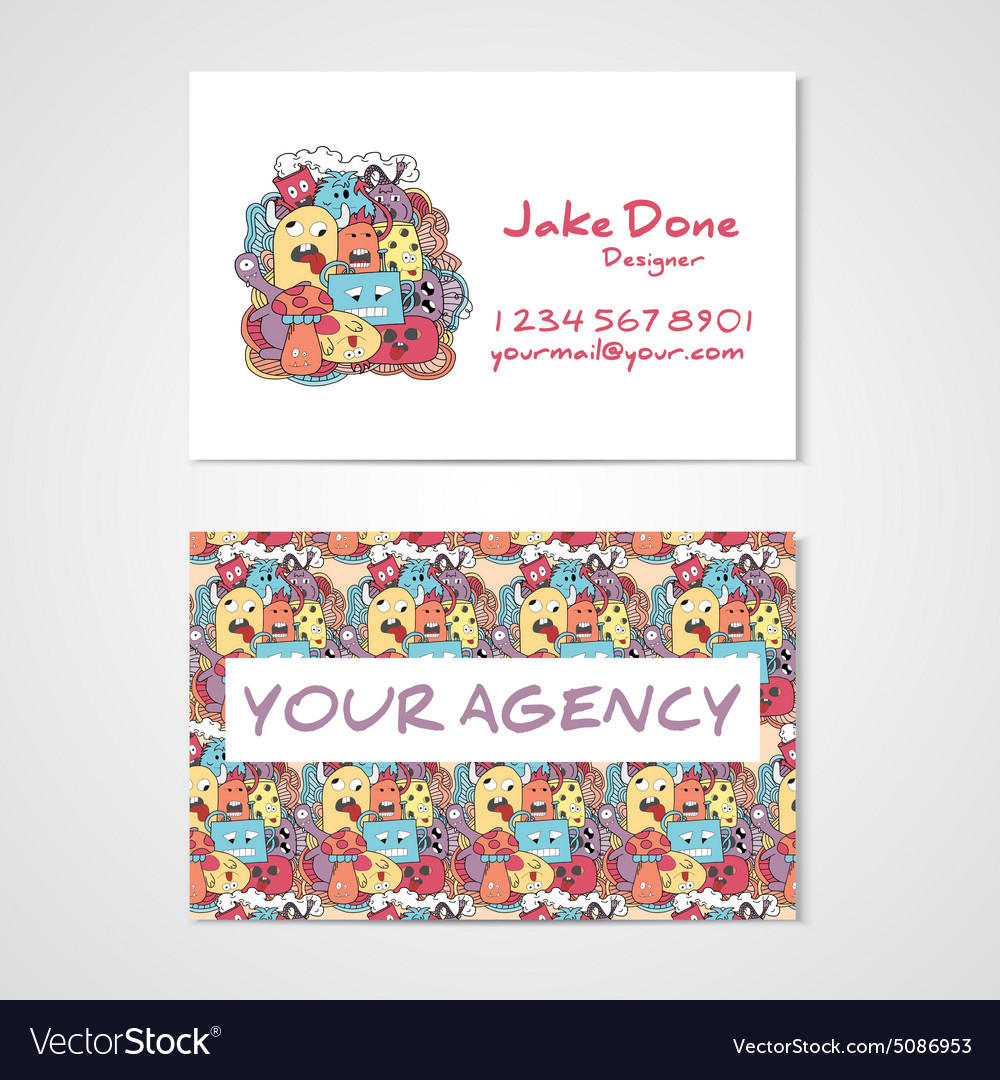 Business card template whit funny doodle monstes Vector Image