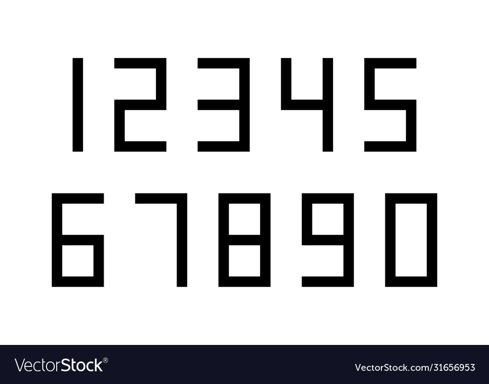 Set numbers with black typography design
