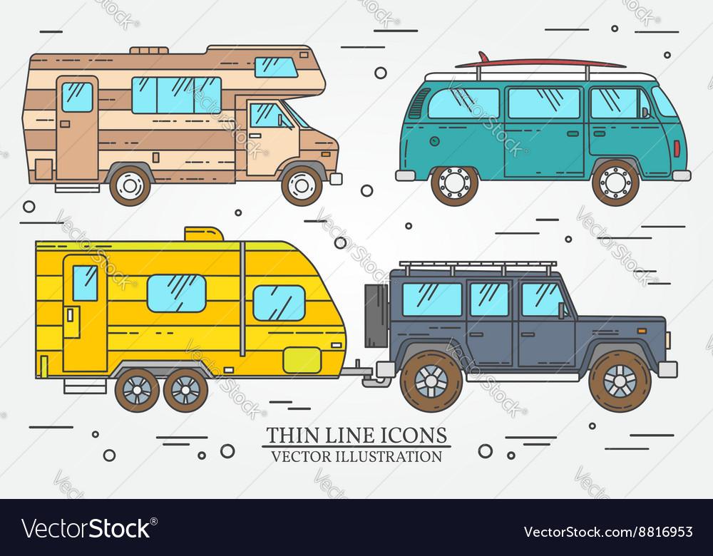 Set of Tourist bus SUV trailer jeep RV camper