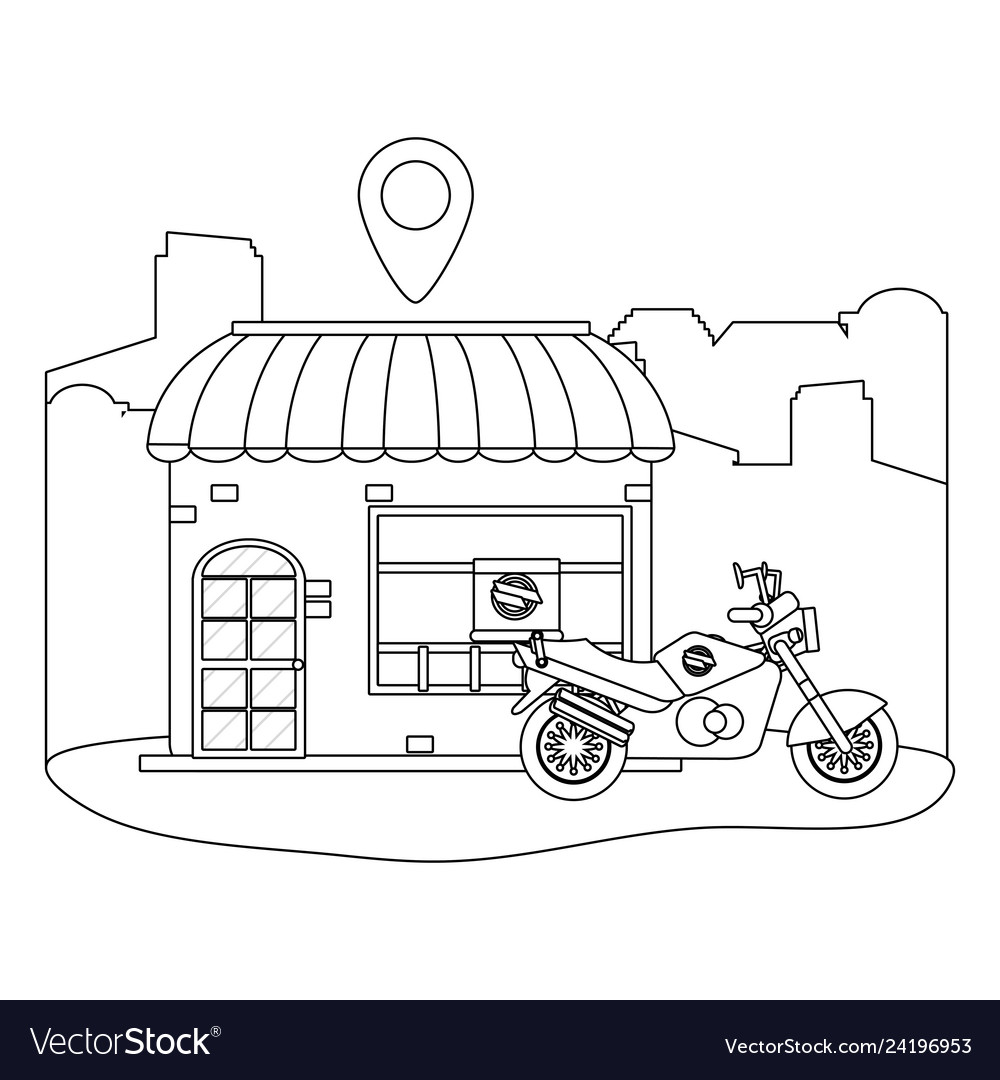 Store with delivery motorcycle