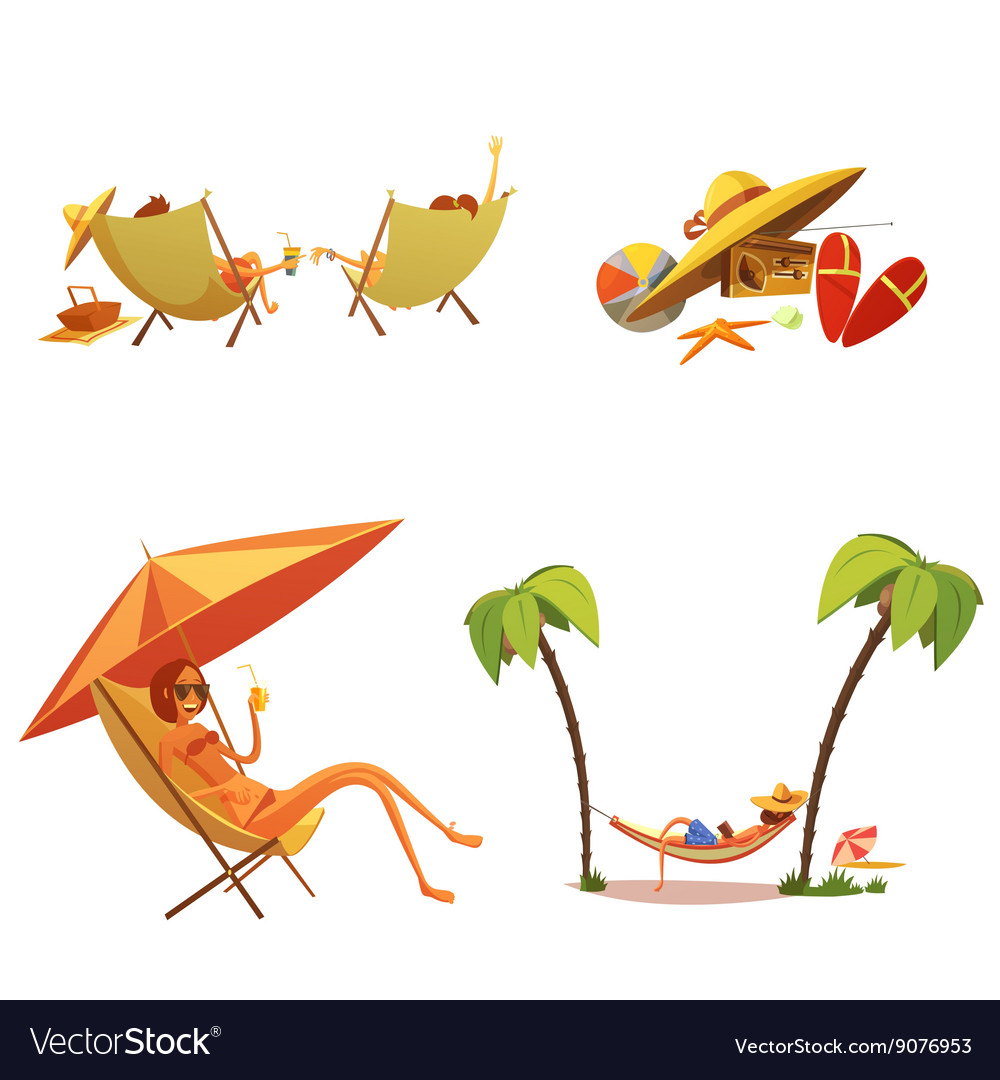 Summer Holiday Cartoon Icons Set vector image