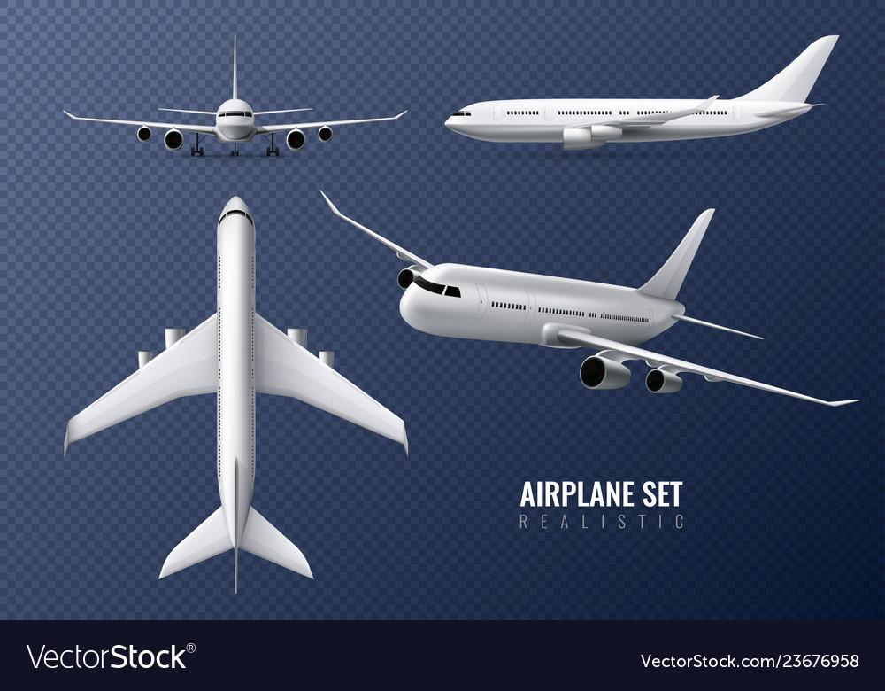 Airplane realistic transparent set
