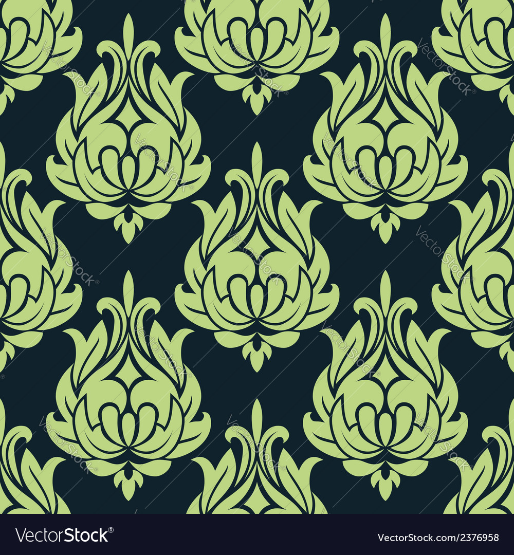 Blue and green vintage floral seamless pattern
