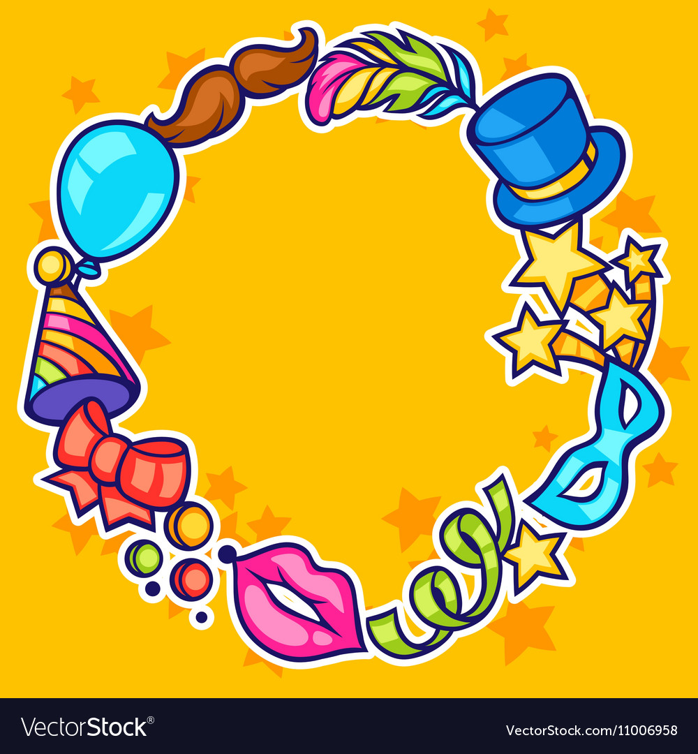 Celebration festive frame with carnival icons and vector image