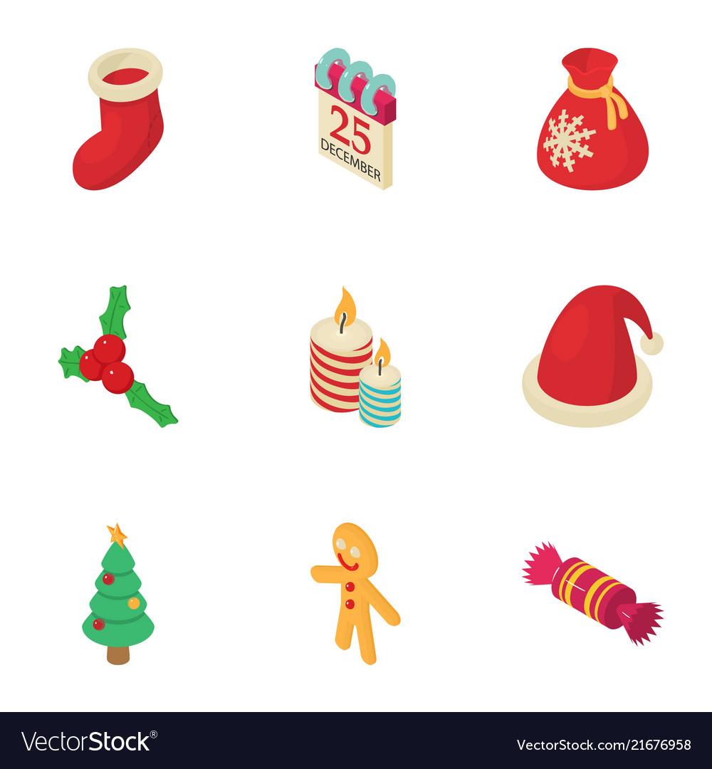 Christmas fellowship icons set isometric style