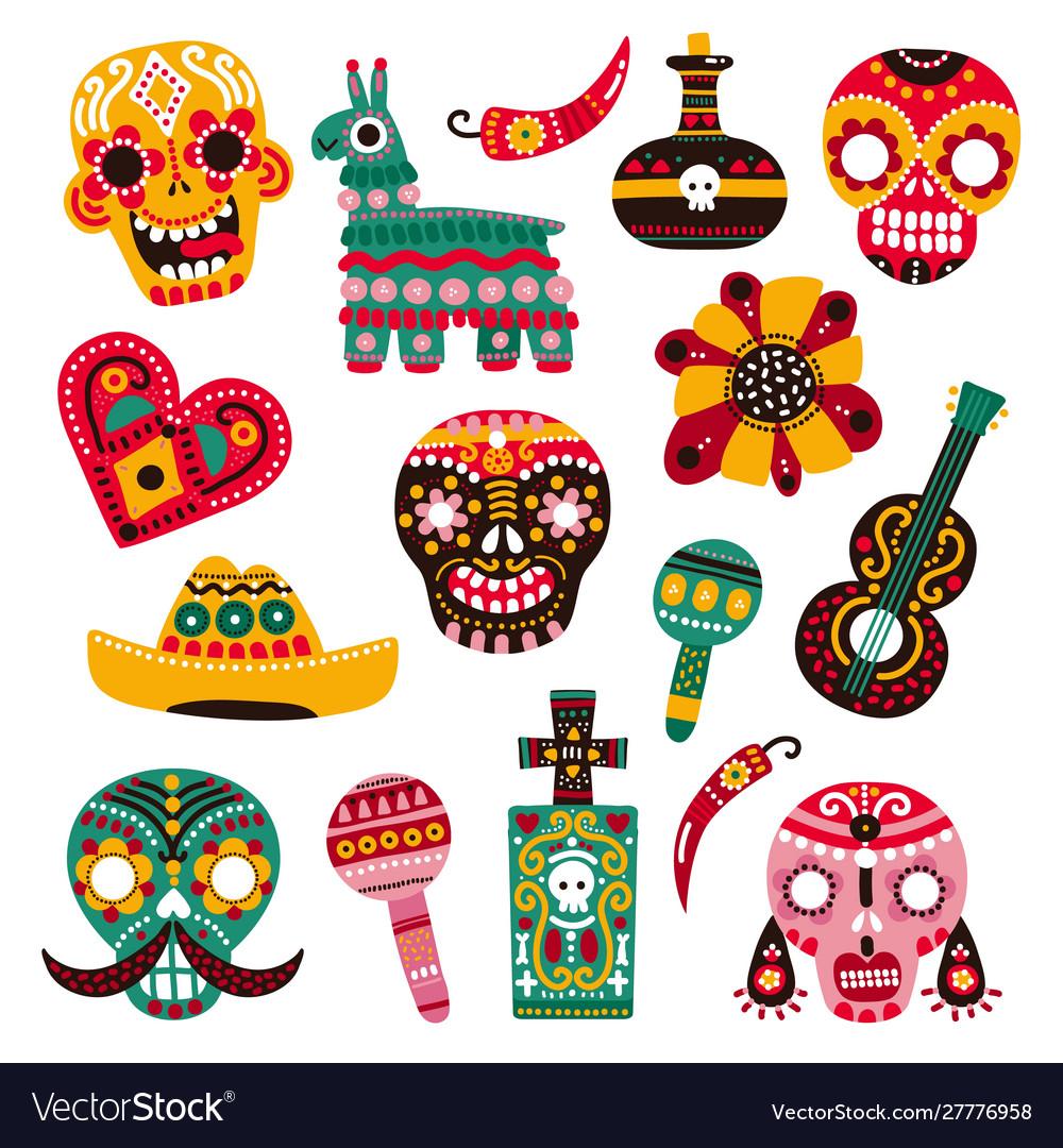 Day dead decorative skulls guitar and