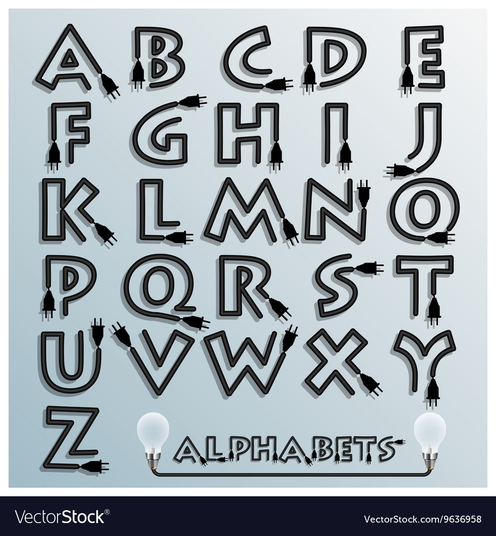 Electric Wire And Plug Alphabets Font Style vector image