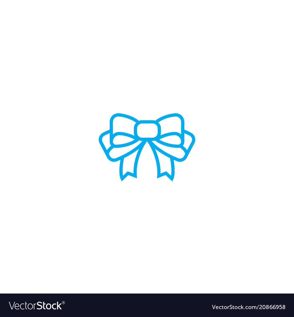 Gift bow thin line stroke icon gift bow