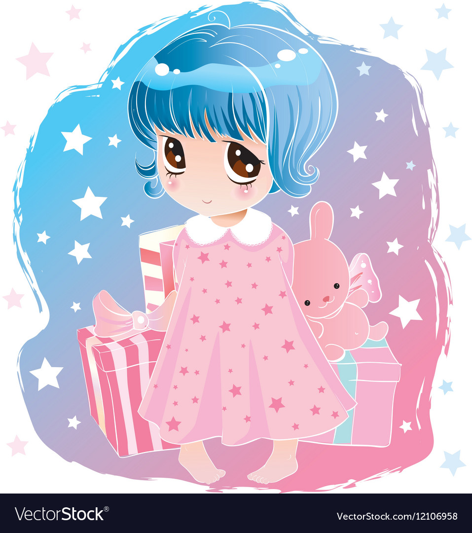 Little Cute Girl With Big Eyes Royalty Free Vector Image