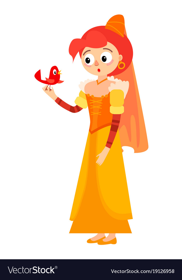 Princess with a charming bird