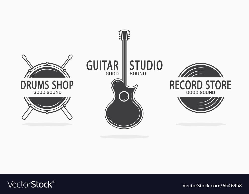 Set of vintage musical instrument logos