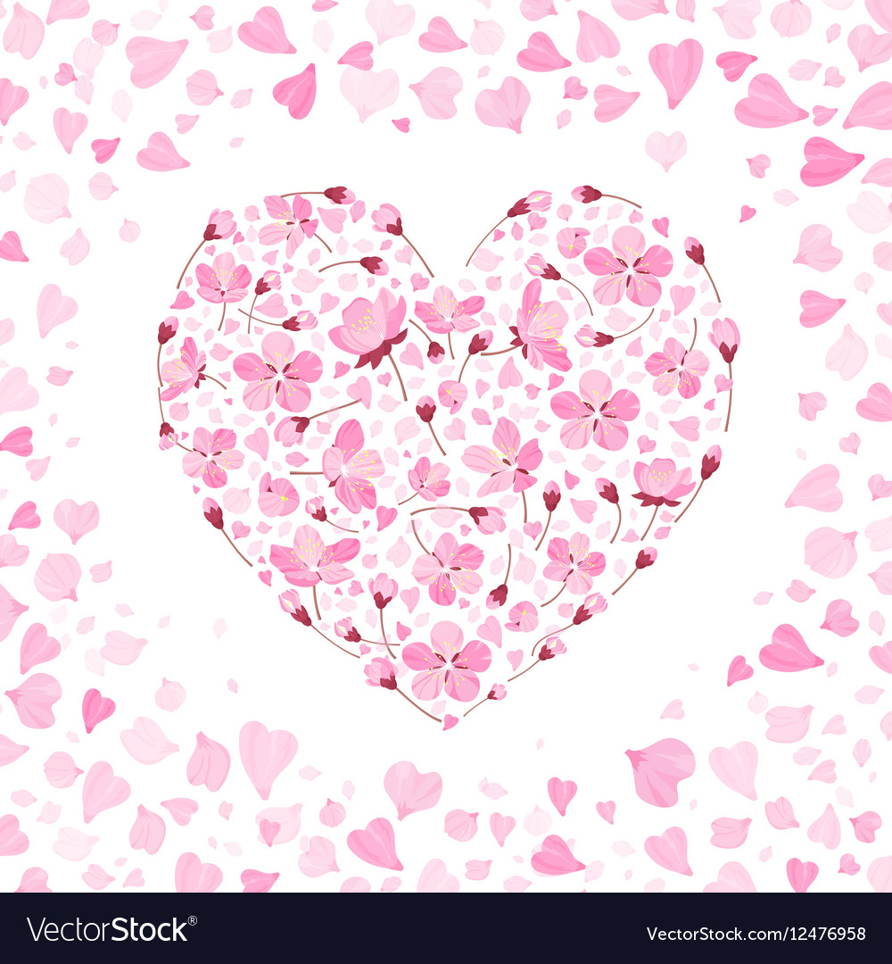 Spring background with gentle heart from vector image