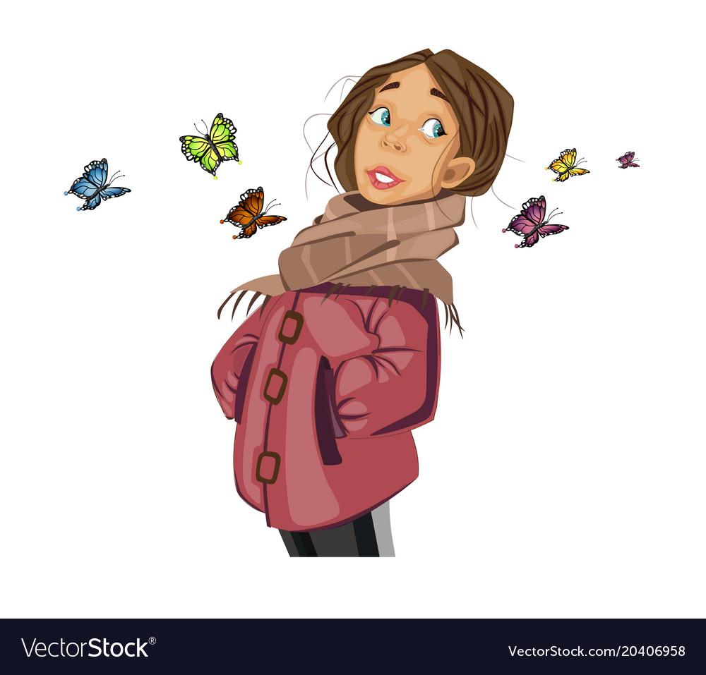 Teenage girl cartoon character and butterflies