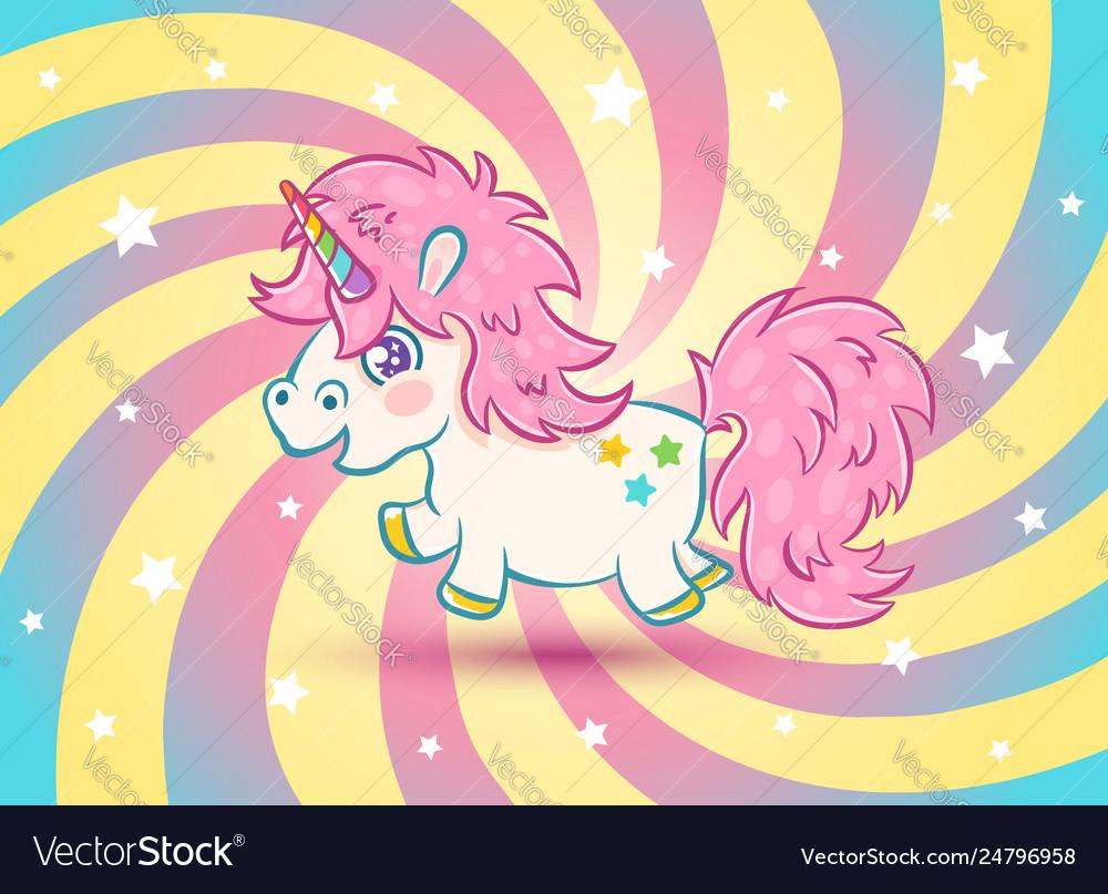 Unicorn with stars in kawaii style