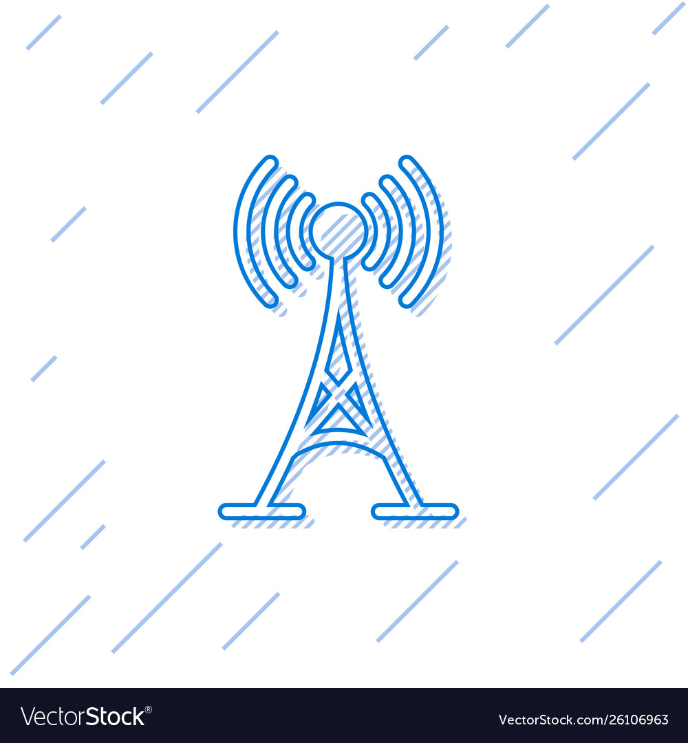 Blue antenna line icon isolated on white