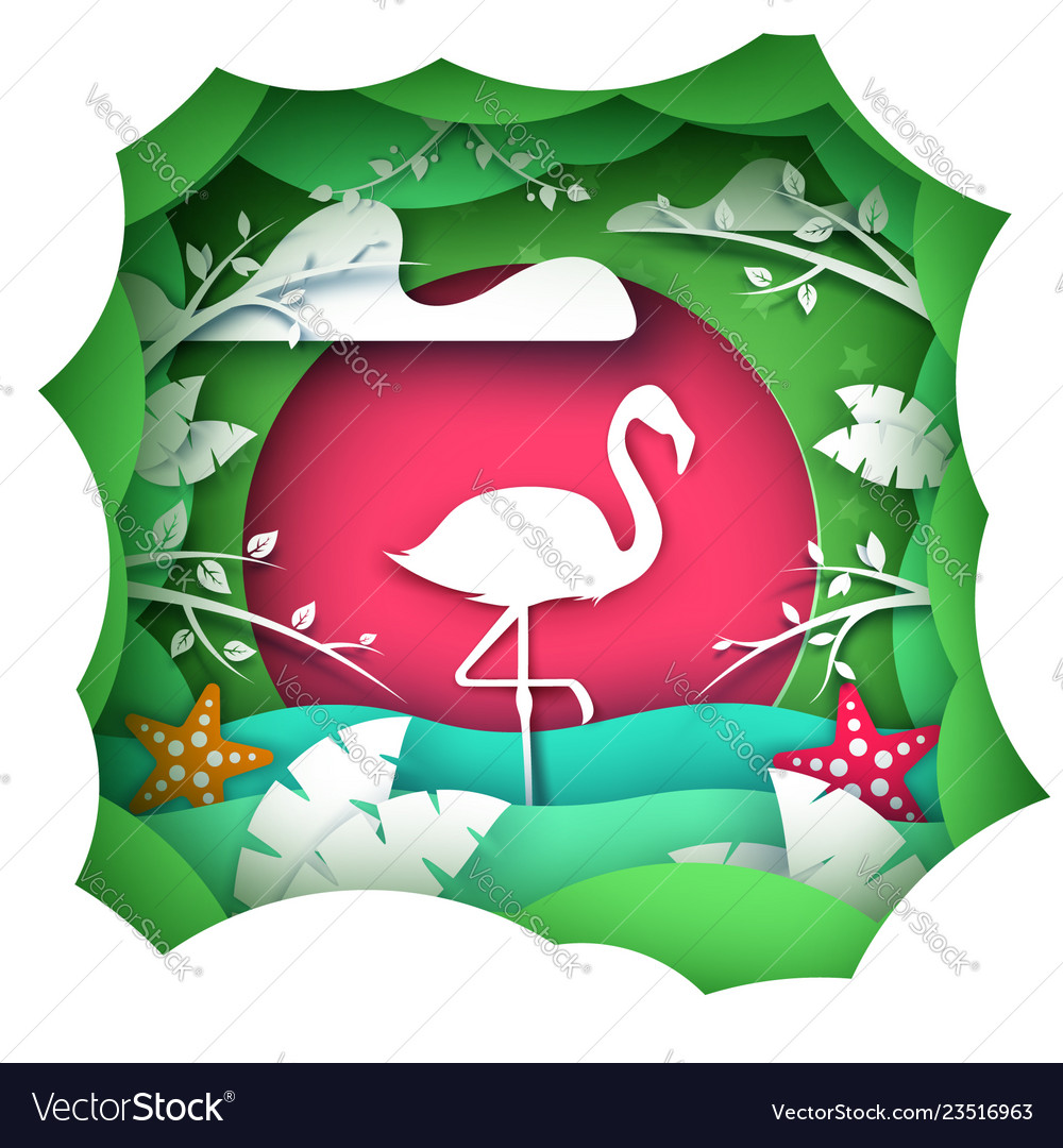 Cartoon paper landscape flamingo characters