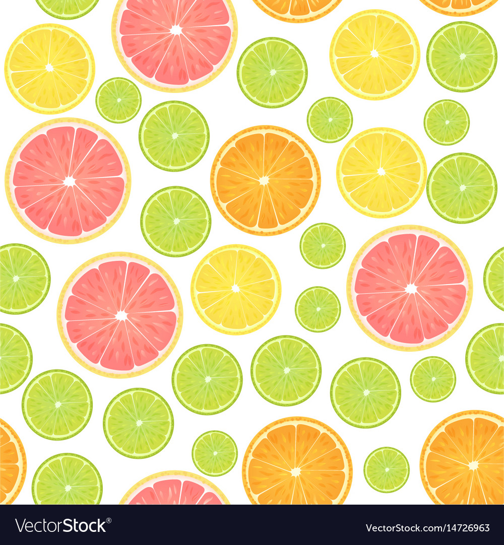 Colorful citrus lemon seamless pattern