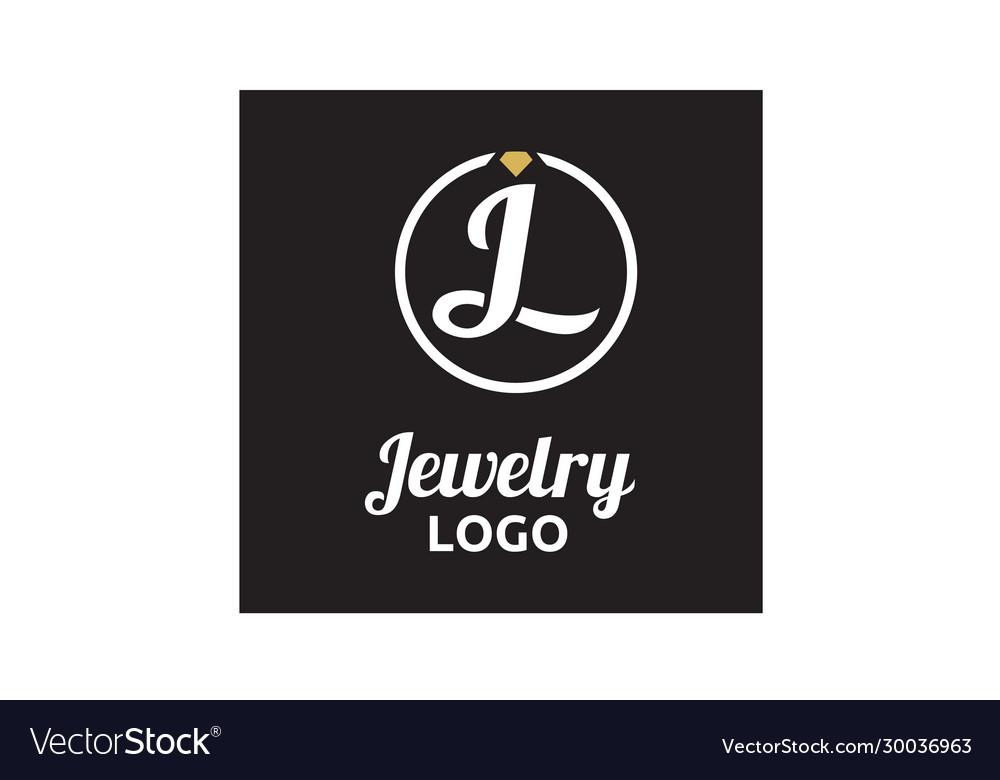 Diamond jewelry initial jl circular logo design