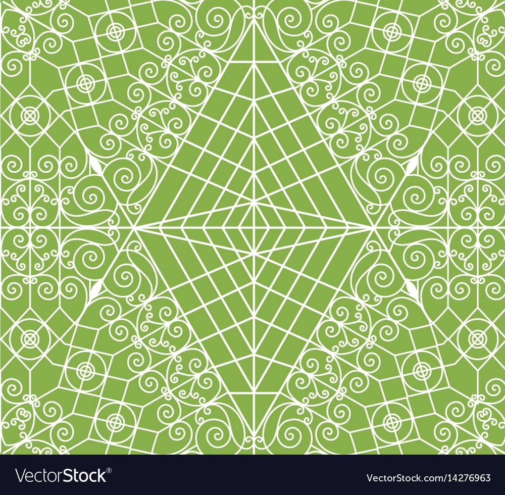 Geometric greenery seamless pattern vector image