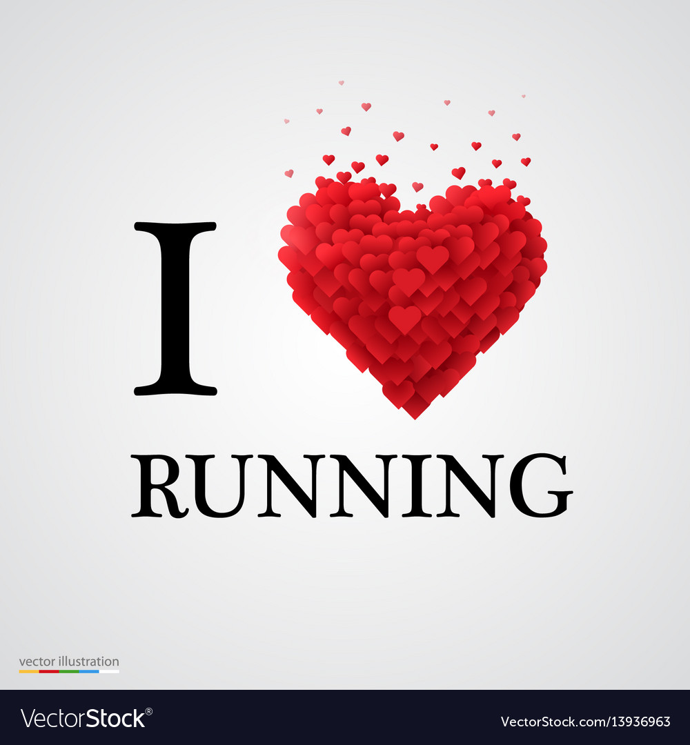 I love running heart sign