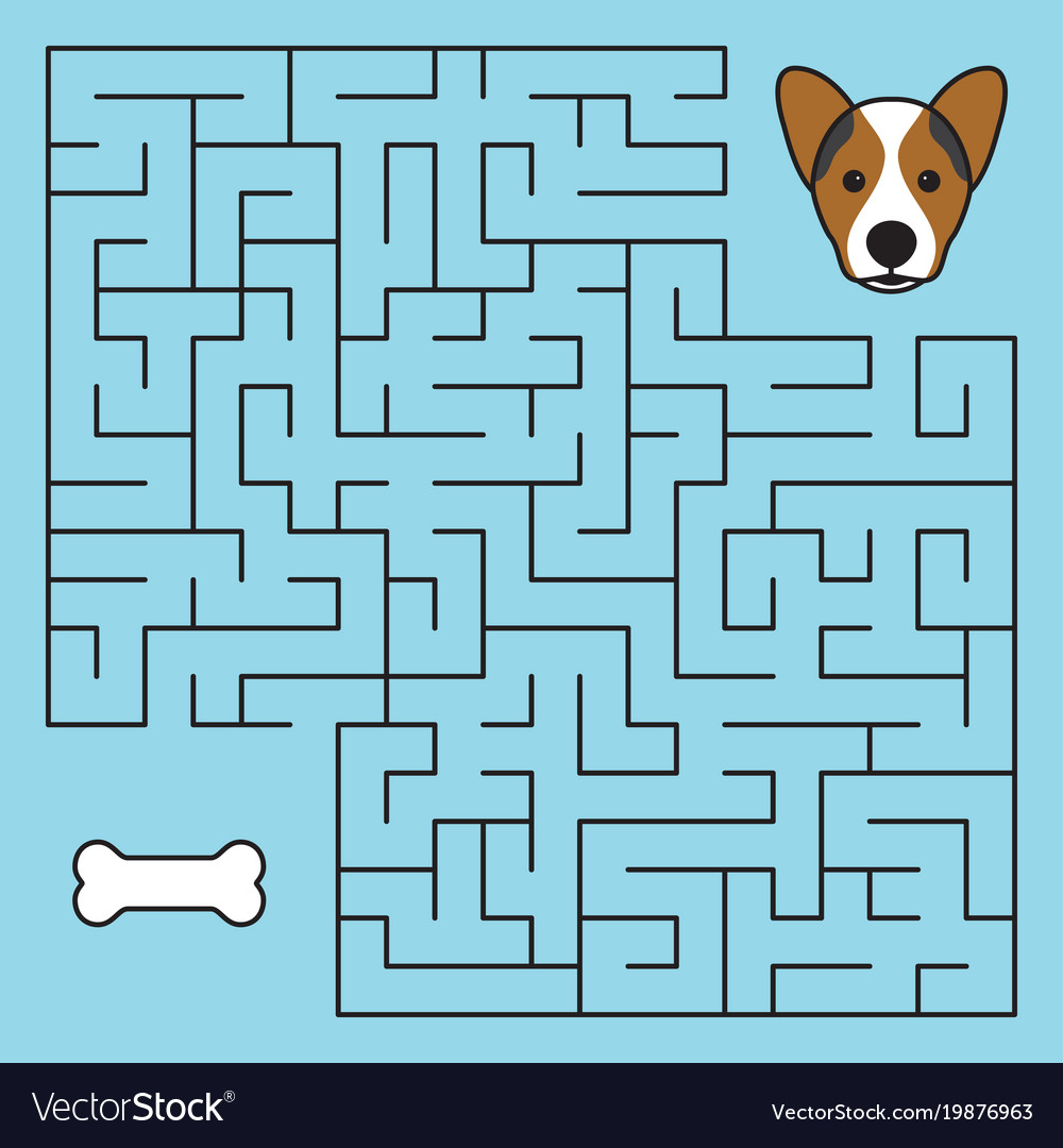 Labyrinth maze game with solution help dog
