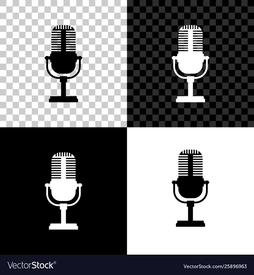 Microphone icon isolated on black white and