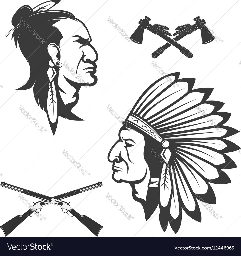 Set of american native chief heads American
