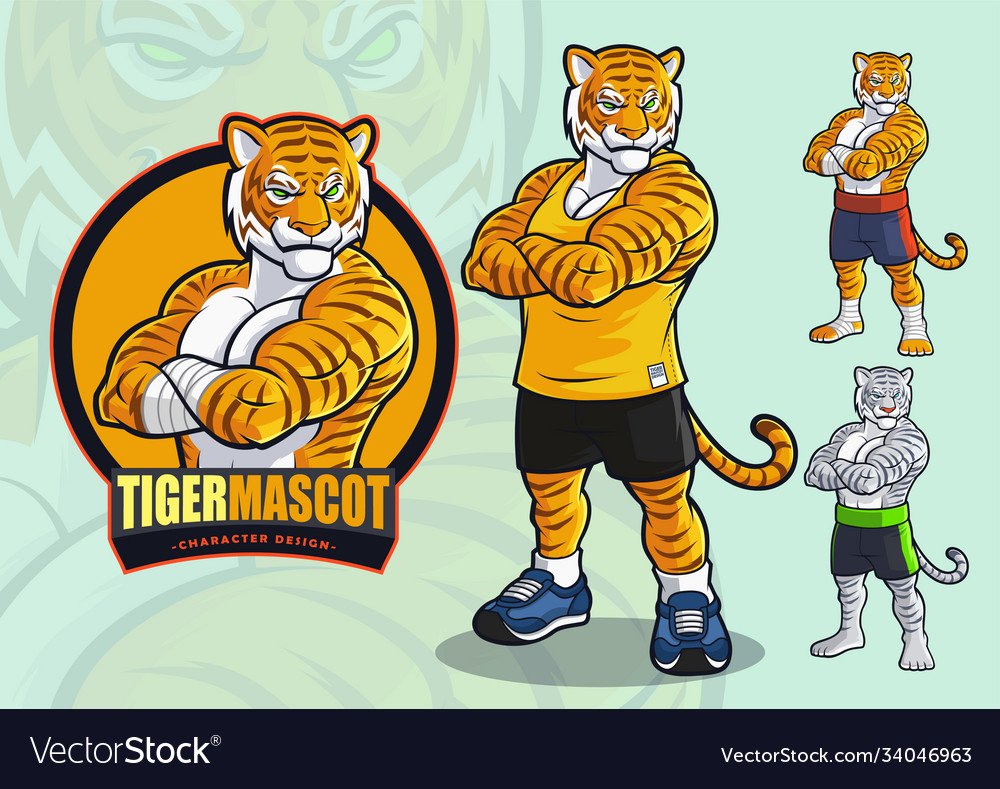 Tiger mascot for spots and martial arts logo